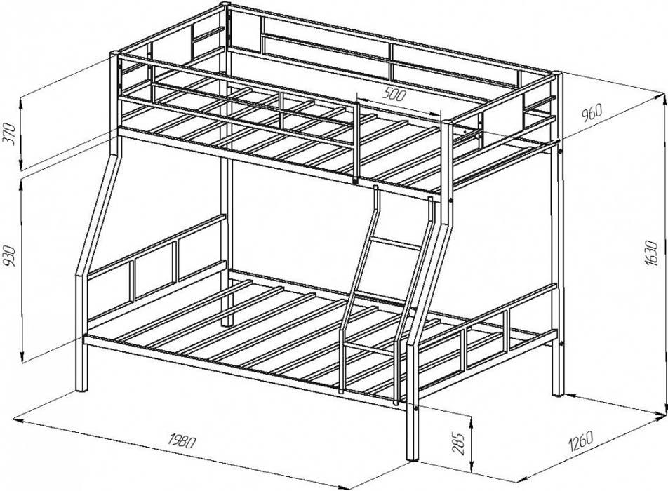 Двухъярусная кровать из профильной трубы своими руками чертежи 96
